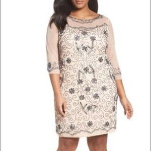 PISSARO NIGHTS Beaded Sequin Mesh 3/4 Sleeve Dress